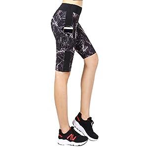 Flatik Women's Capri Tights Workout Yoga Shorts Running Leggings