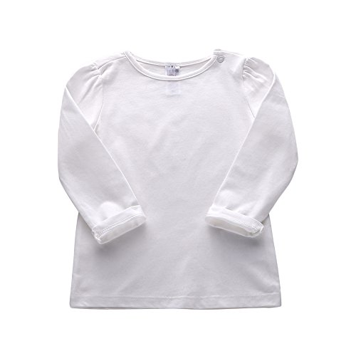 s Long Sleeved Solid T-Shirts 100% Cotton O-Neck Tops Color White Size 6M ()