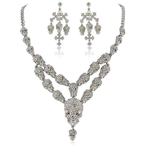 EVER FAITH Austrian Crystal Halloween Skull Cross Necklace Earrings Set Clear (Clear Austrian Crystal Cross)