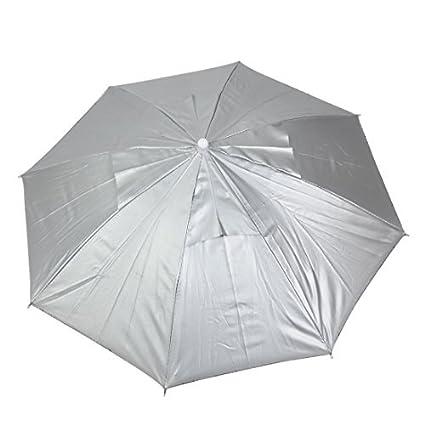 eDealMax poliéster deportes al aire Libre Pesca Banda Ajustable Doblado Lluvia paraguas de sol Sombrero gris