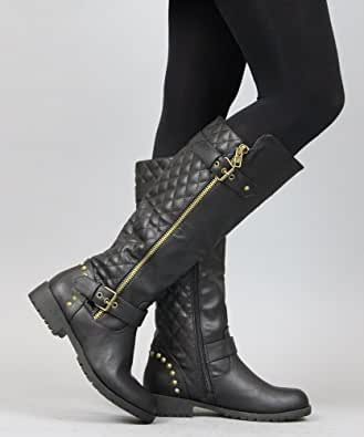 Natures Breeze - Ladies Vivienne-01 Studded Quilted Leatherette Buckle Round Toe Motorcycle Boot, Black 38850-5.5B(M)US