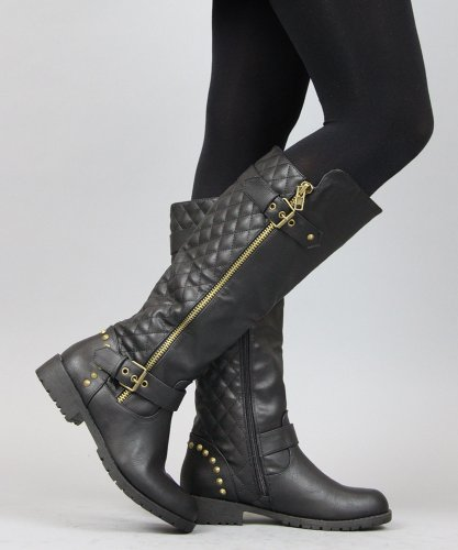 Nature Breeze Vivienne-01 Studded Quilted Leatherette Buckle Round Toe Motorcycle Boots BLACK (10)