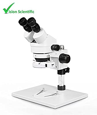 Vision Scientific Binocular Zoom Stereo Microscope,10x Widefield Eyepiece,0.7x—4.5x Zoom Range, 7x—45x Magnification Range, Pillar Stand with Large Base, 144-LED Ring Light with Intensity Control
