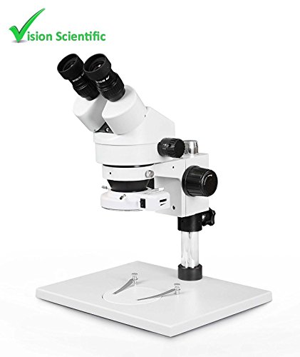 Vision Scientific VS-1AE-IFR07 Binocular Zoom Stereo Microscope,10x Widefield Eyepiece,0.7x—4.5x Zoom Range, 7x—45x Magnification Range, Pillar Stand with Large Base, 144-LED Ring Light