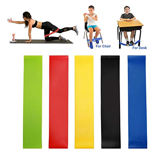 GNAWRISHING 5 Pcs Elastic Bands for Exercising Yoga Bands for Working Out Chair Bands 5 Colors