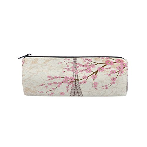 WOZO Cherry Blossom Eiffel Tower Sakura Pen Pencil Case Makeup Cosmetic Pouch Case Travel Bag -