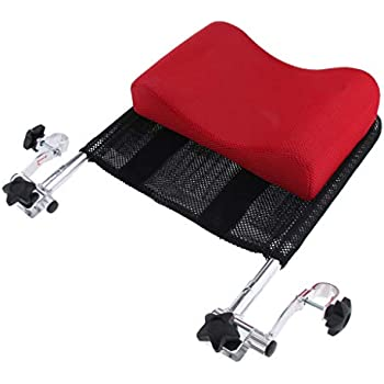 SM SunniMix Adjustable Wheelchair Headrests Support, Backrest Neck Support Cushion Pillow for 16 inch -20 inch - Red