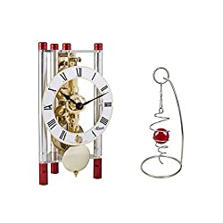 Qwirly 2-Item Bundle: Lakin Mechanical Skeleton Table Clock by Hermle 23023T40721 and Desktop Rotating Spinner - Room Decor Set for Birthday, Holidays and a Great for Any Occasion - Red/Gold