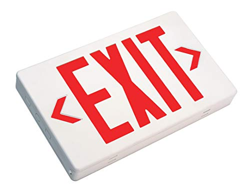 (NICOR Lighting LED Emergency Exit Sign, White with Red Lettering (EXL1-10-UNV-WH-R-2))