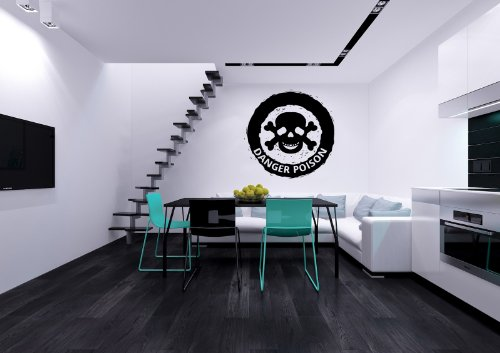 Danger Poison Halloween Label Sign Skull Vinyl Decals Wall Art Sticker Home Modern Stylish Interior Decor for Any Room Smooth and Flat Surfaces Housewares Murals Design Graphic Bedroom Living Room -