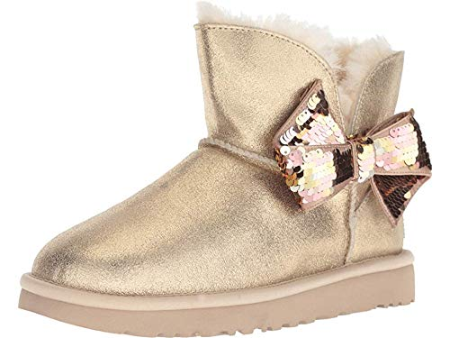 UGG Women's W Mini Sequin Bow Fashion Boot, Gold, 10 M US