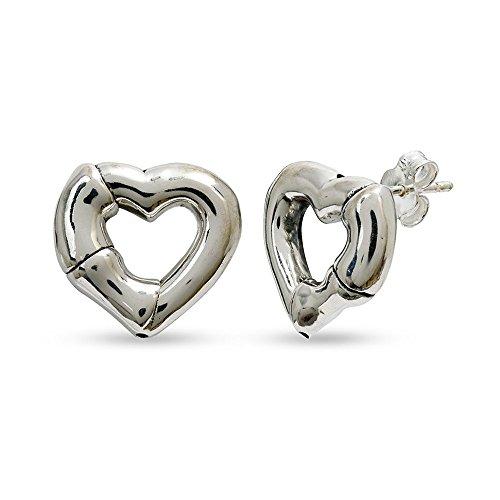 Pattern Bamboo Earrings (LeCalla Sterling Silver Jewelry Puffed Open Heart Stud Earring Bamboo Pattern for Women)