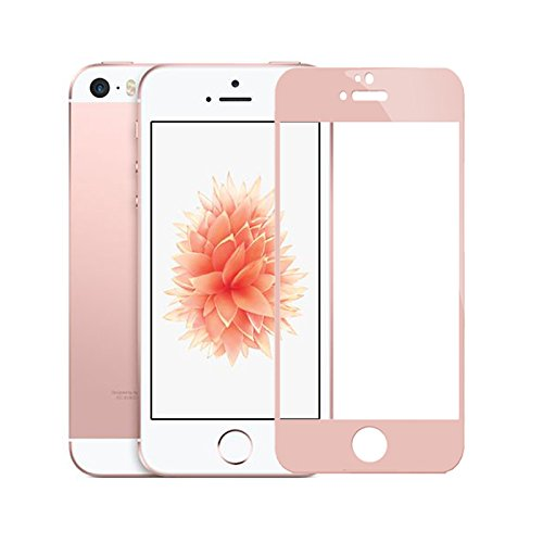 iPhone SE Screen Protector, iPhone 5S 5C 5 Screen Protector, BESTKIN HD Full Cover Tempered Glass Screen Protector for iPhone SE 5S 5C 5 - Rose Gold (Iphone 5c Replacement Cover compare prices)