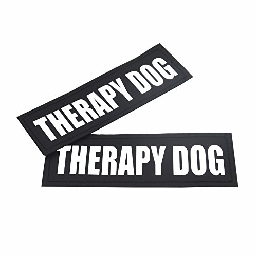 (2 Pack Reflective Service Dog Patches with hook back for Pet Collar Vest Harness - 3 Sizes (THERAPY DOG, S:4.6