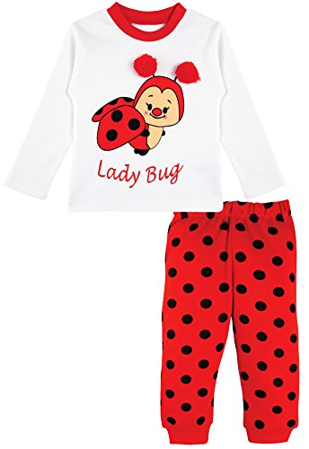 Lilax Baby Girl Soft Cotton Fun Long Sleeve Top and Printed Pant 2 Piece Playwear Set 9M Lady - Baby Fancy Layette