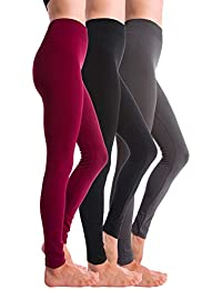 3-Pack Fleece Lined Thick Brushed Leggings (S/M/L,...