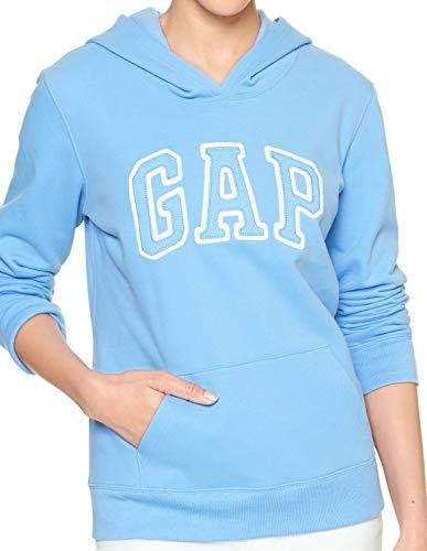 (GAP Womens Arch Logo Fleece Hoodie, Hanover Blue (M))