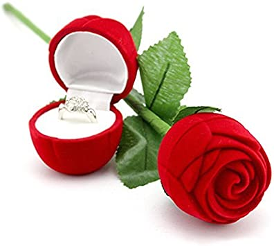 Vococal - Caja Almacenamiento de Pantalla de Regalo Estuche para Joyería del Pendiente de Boda Anillo Compromiso,Estilo de Rosa Roja: Amazon.es: Juguetes y juegos