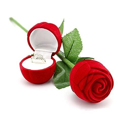 Vococal - Caja Almacenamiento de Pantalla de Regalo Estuche para Joyería del Pendiente de Boda Anillo Compromiso,Estilo de Rosa Roja