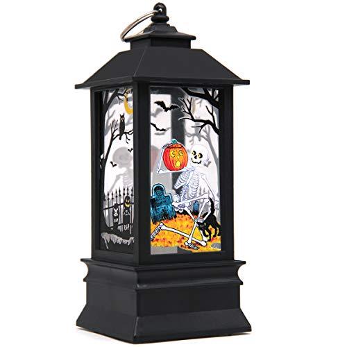 Seasons Stars SSDecor Halloween Portable Lanterns Orange Candle LED Halloween Lamp Lights, Spooky Skeleton Halloween…