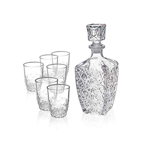 - 7-Piece Liqueur Whiskey Gift Set Sophisticated 26.25oz Diamond Decanter and 6 Etched 8.75oz Whiskey Glasses with Sparkling Star Cut Detailing for Whiskey Bourbon Scotch and Liquor