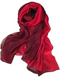 Summer Silk Scarf Gradient Color Long Lightweight Sunscreen Shawls for Women