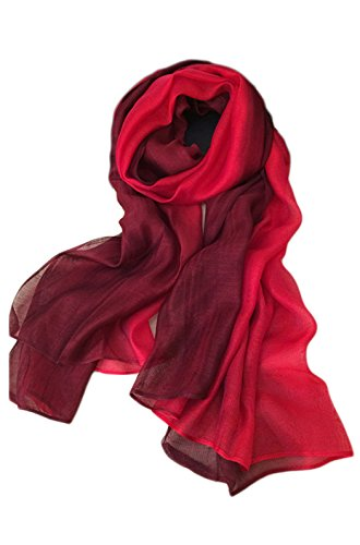 (Unilove Summer Silk Scarf Gradient Color Long Lightweight Sunscreen Shawls for Women (Red))