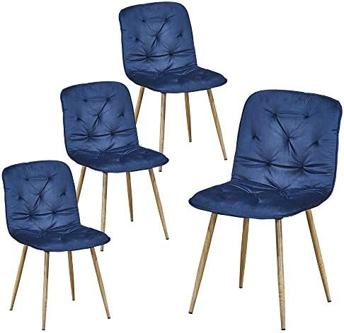ChicZone Dinning Chairs Set of 4 Dining Room Chairs Modern Home Living Room Chair Sponge Velvet Blue