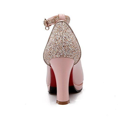 Pompe Alti Tacchi Materiali Solida Delle Rosa Miscela Rotonda Fibbia Donne Allhqfashion Punta scarpe Chiusa nSF4xn