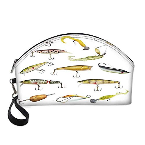 Fishing Decor Small Portable Cosmetic Bag,Fishing Tackle Bait for Spearing Trapping Catching Aquatic Animals Molluscs Design For Women,Half Moon Shell Shape One size