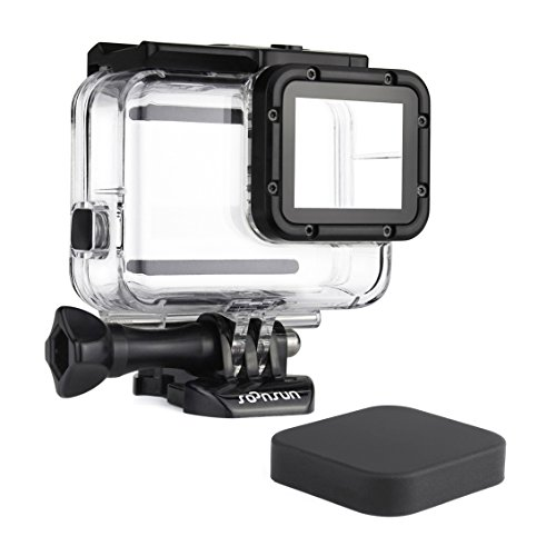 SOONSUN 45m Underwater Waterproof Dive Housing Case for GoPro Hero 5 Hero 6 Hero 2018 Hero 7 Black Camera - Includes Bracket Accessories and Silicone Lens Cap Cover