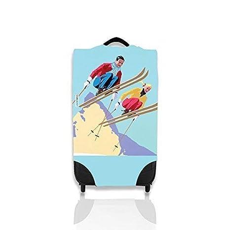 Diseño de esquí Retro Maleta para identificar fácilmente Su Caso En El Carrusel Mediano: Amazon.es: Equipaje