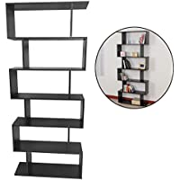Wood Bookshelf Stand,Mordern S Shape 6 Tier Book Storage Display Shelf Wall Wood Bookcase For Home Office Decor (Black)