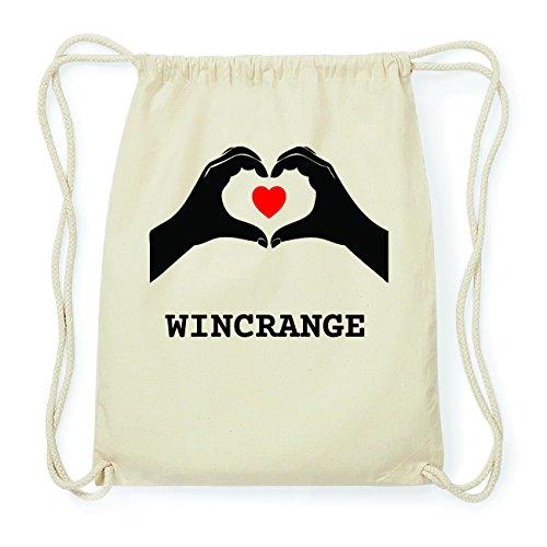 JOllify WINCRANGE Hipster Turnbeutel Tasche Rucksack aus Baumwolle - Farbe: natur Design: Hände Herz