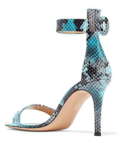 Sandali Con Cinturino Alla Caviglia Con Tacco Alto Da Donna Eldof | Tacchi A Punta Aperta Modello Pitone | Sandali Con Fibbia 8 Cm Blu