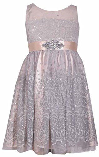 Bonnie Jean Sleeveless White and Metallic Silver Illusion Bodice Dress with Sparkle Accents 12Y
