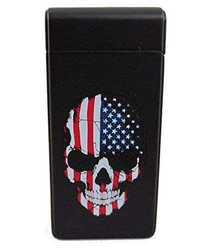 USA Black Skull Tesla Lighter USB Rechargeable Lighters Electronic Windproof Dual Arc Rechargeable,with Charging Cable