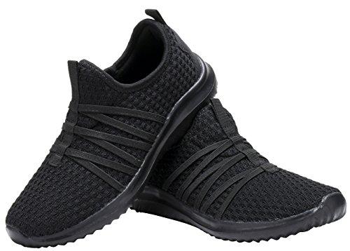 D.seek Kinderen Meisjes Dames Atletische Sneakers Casual Instap Sportschoenen Zwart