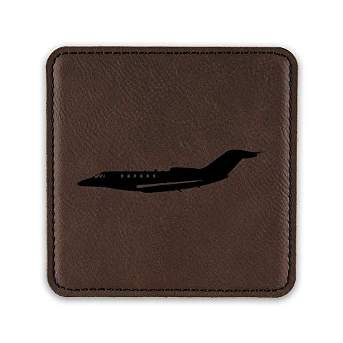 (Cessna Citation X Jet Drink Coaster Leatherette Coasters business - Dark Brown - One Coaster)