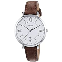 FOSSIL Jacqueline Brown Leather Watch – Analogue Women's Quartz Wrist Watch with Date Function in Gift Box - Stainless Steel Case and Silver Dial