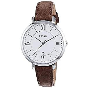 FOSSIL Jacqueline Brown Leather Watch – Analogue Women's Quartz Wrist Watch with Date Function in Gift Box – Stainless Steel Case and Silver Dial