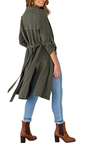 Donna Chic Casual Jacket Cardigan Lunga Spacco Manica Autunno Cappotto Cute Giacche Puro Moda Relaxed Leggero Eleganti Primaverile Lungo Dunkelgrün Colore RR7rZA