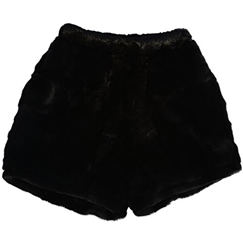 MinkgLove Rex Rabbit Boxer Shorts Briefs Underwear, Velvety Soft Plush Feel, Fur Lined Fly, Black, Hand Tailored, One Size - Single Sided Fur by MinkgLove