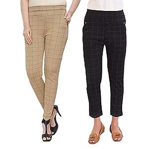 Pixie Women's/Girls/Ladies Spandex Check Pattern Pant/Trouser/Jeggings – Free Size