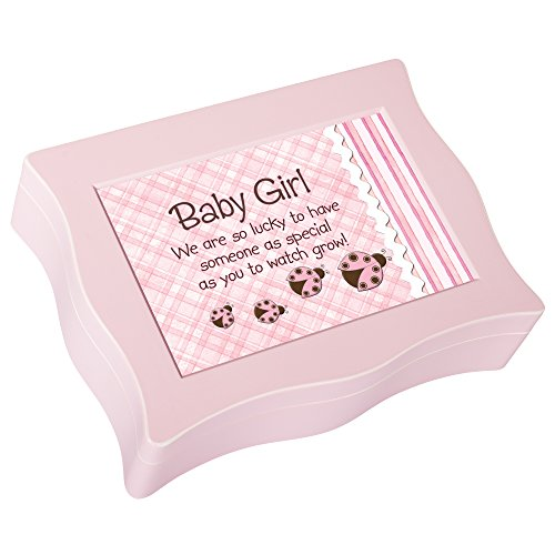- Cottage Garden Baby Girl Lucky to Have Matte Pink Jewelry Music Box Plays Brahms Lullaby