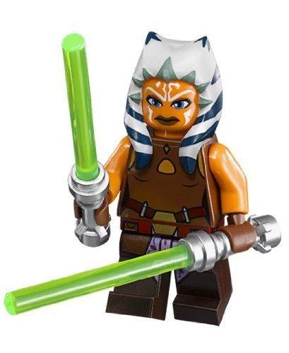 LEGO Star Wars Minifig Jedi Ahsoka Tano w/2 Neon Green LEGO Lightsaber Weapons