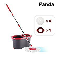Panda Premium Effortless Wring Spin Mop and Bucket Set (4 Mop Heads + 1 Extension Rod)