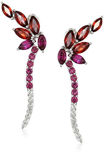 Rhodium Plated Sterling Silver Marquise Genuine Garnet, Rhodolite, and Round White Topaz Drop Earrings