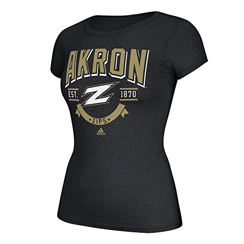 NCAA Akron Zips Adult Women Top Bridge Arch Cap sleeve Tee, Medium, Black (Tee Sleeve Zip)