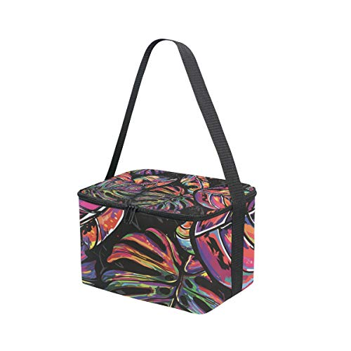 Picnic Lunchbox Palm Strap for Lunch Shoulder Bag Cooler Colorful Trees Tropical Hippie wwc1WqBUf